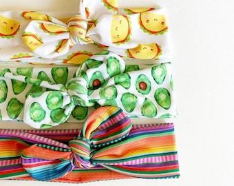 Tacos Avocados or Mexican Blanket · Top Knot Headband / Adjustable Headband / Head Wrap / Infant Headband / Top Knot / Adult Headband