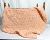 Baby blanket, orange and white, handwoven, wool, acrylic