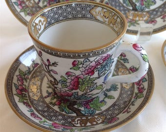 db3394ba70 5pc Antique 1910s MINTON Indian Tree / Chinese Tree 1 Demitasse Tea Cup & 4  Saucers Edwardian 1920s Famille Rose Qianlong Style Circa 1915