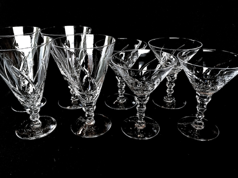 1950s MID CENTURY Hollywood Regency Floral Etched Crystal Plates Optic Dot /& Laurel Wreath Criss Cross Bevel Downton Abbey Vibe Wedding Gift