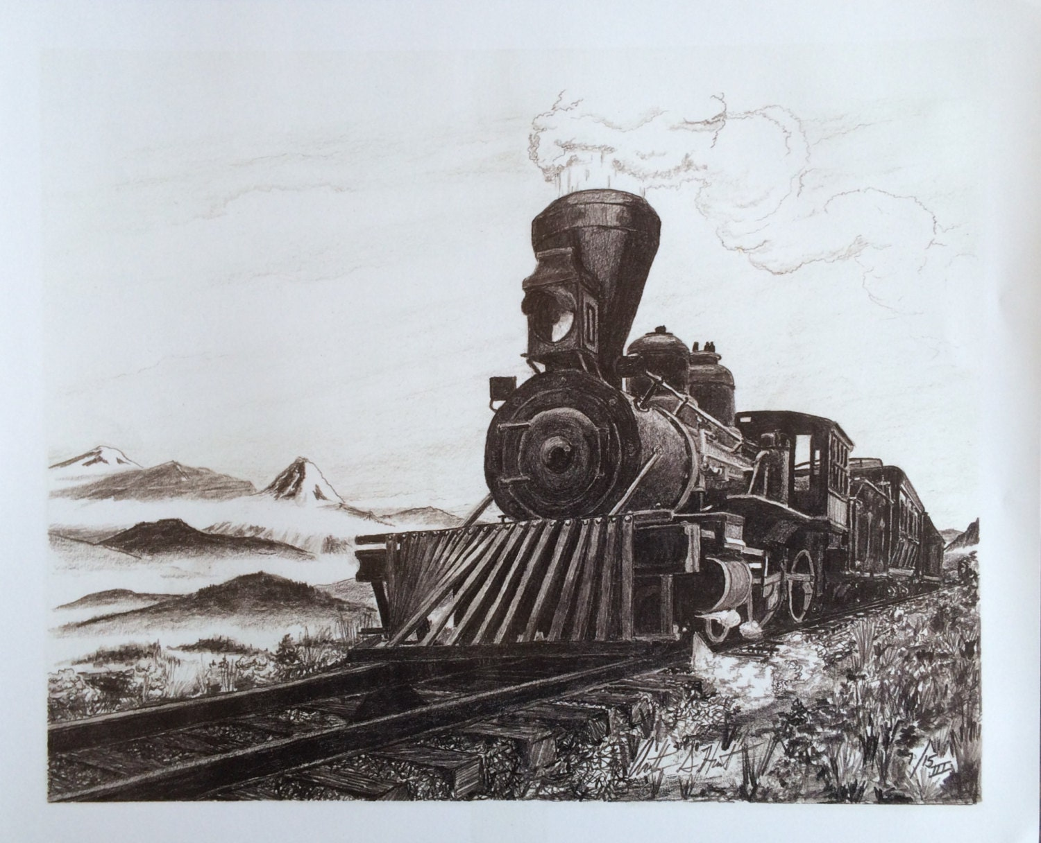 Iron Horse III - 14x17 Digital print of original steam locomotive