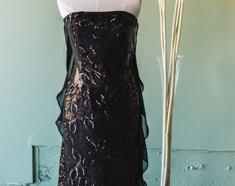 black evening dress, evening gown,gala gown,sequin dress, Chiffon cape,runway dress,sample sale,one of a kind designer dress,