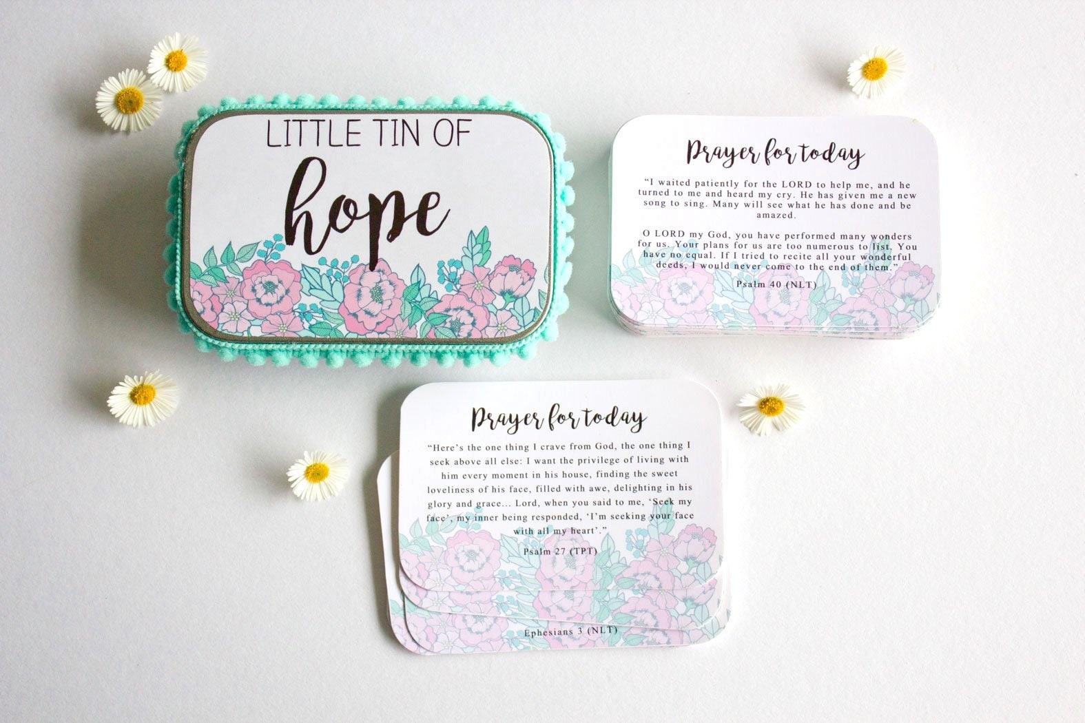 Bible Verse Cards, Scripture Cards, Prayer, Tin, Christian Gift,  Encouragement, Inspirational Quote Cards, Floral Design,