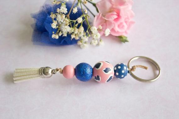 Blue Spots Keyring Navy Blush Pink Polka Dots Tassel  89f19e975b
