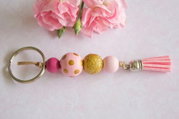 Hot Pink Gold Polka Dot Round Wooden Bead Keyring Keychains  ba091af6d7