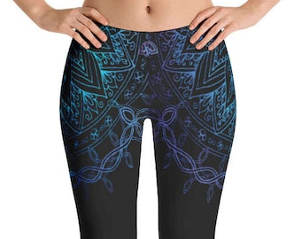 Double Watercolor Mandala Leggings - Women's Active Wear Pants - Zen Yoga Pants - Sizes XS to XL - Polyester/Spandex - Gift Idea for Her
