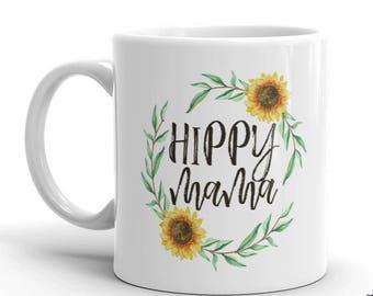 Hippy Mama Sunflower Coffee Mug - Ceramic Mom Coffee Cup - Mother Mug  - Cocoa Mug - Funny Mug - Tea Mug - Food Lover - Gift Idea