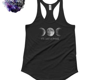 It's Just A Phase Vintage Black Racerback Tank Top - Creative Full Moon Phase Shirt - Triple Moon Goddess - Work Out Tank - Gift for Her