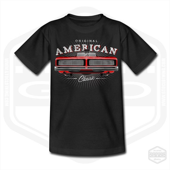 US Car v8 Hot Rod Dodge Charger muscle car 1968 a modern US Car T-shirts