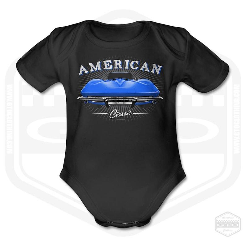 67 Chevy Corvette Stingray Short Sleeve Baby Body Black GTO Clothing