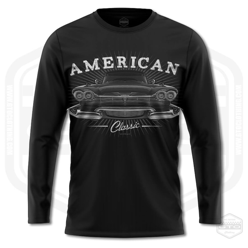 Made In USA by GTO Clothing S-3XL 58 Plymouth Fury Men/'s Long Sleeve Shirt Black American MuscleCar Petrolhead Carguy Cargirl,Gearhea