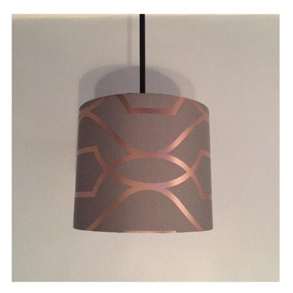 Grey And Rose Gold Cylinder Lampshade, Rose Gold Pendant Lamp Shade