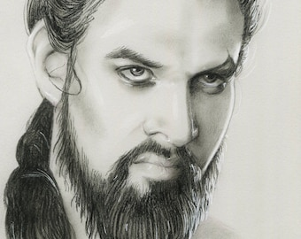 ORIGINAL - Khal Drogo - charcoal drawing