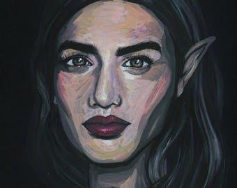 ORIGINAL - gouache portrait - painting study