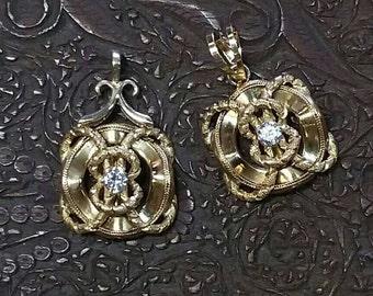 14K Gold and Diamond Nautical Life Preserver Pendant