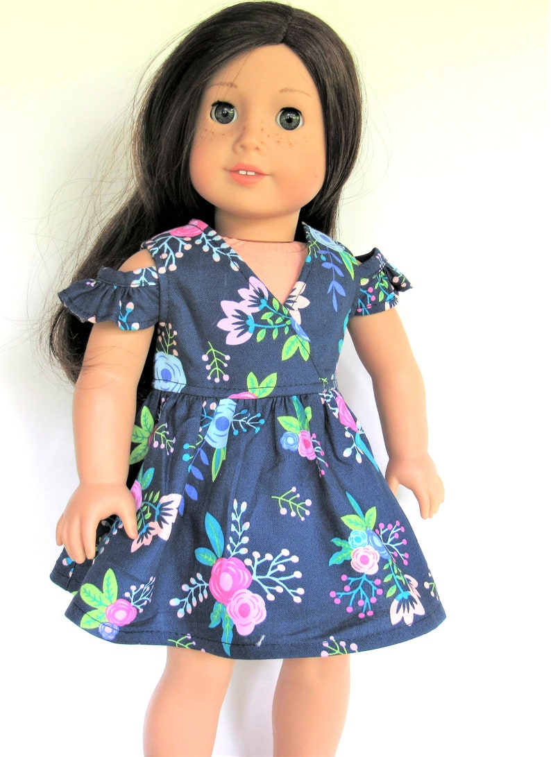 "18/"" Doll Clothes Dress Pink Blue Floral  Fits American Girl Dolls"
