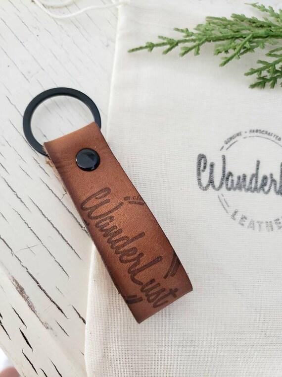 598bbc26b Wanderlust Keychain. Custom Keychain. Personalized Leather Key