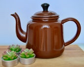 Brown Enamel teapot - tin - camping - afternoon tea - teatime - coffee pot - 70 39 s style - kitchenware
