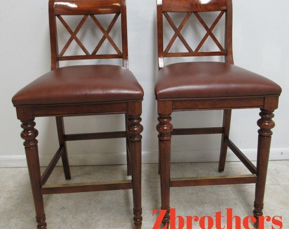 Pair Ethan Allen British Classics Leather Bar Stools
