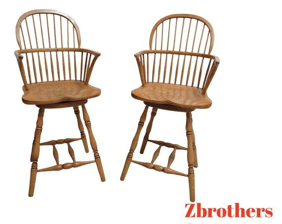 Pair Custom Saddle Seat Oak Carved Bar Counter Height Stools Windsor B