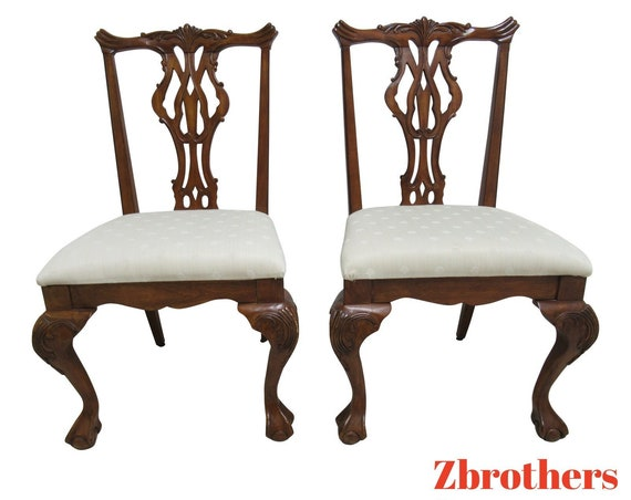 Pair Thomasville Vignettes Chippendale Ball Claw Dining Room Side Chairs B