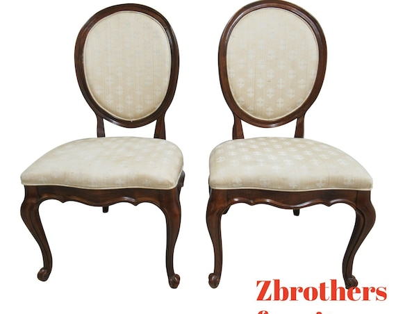 Pair White Furniture Co. French Carved Dining Room Side Chairs C