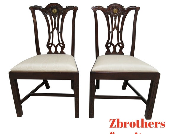 Pair Maitland Smith Dining Room Side Chairs Pierce Carved Chippendale b