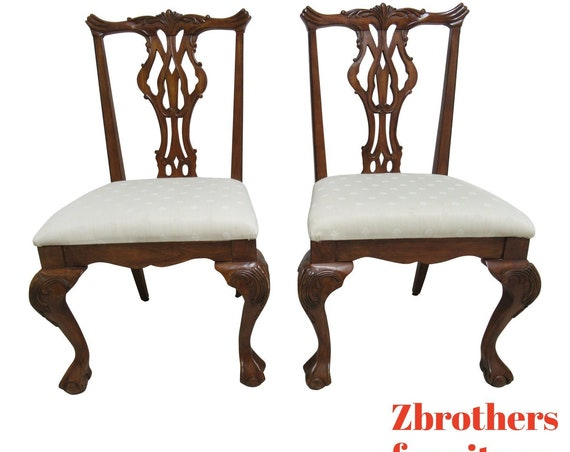 Pair Thomasville Vignettes Chippendale Ball Claw Dining Room Side Chairs C