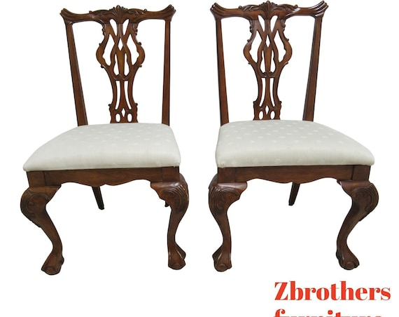 Pair Thomasville Vignettes Chippendale Ball Claw Dining Room Side Chairs A