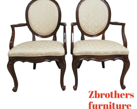 Pair White Furniture Co. French Carved Dining Room Arm Chairs