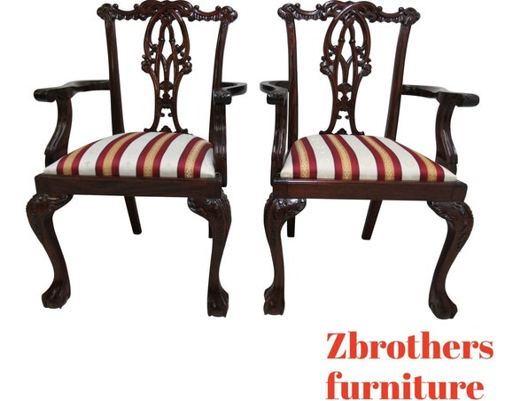 Pair Custom Chippendale Dining Room Arm Chairs Mahogany Pierce Carved