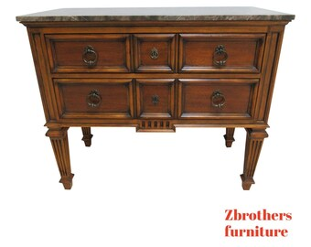Ethan Allen Tuscany Commode Chest Night Stand Marble Top French Console  Table