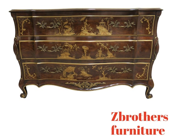 White Furniture Co. Asian Inspired French Carved Dresser Chest Console Server