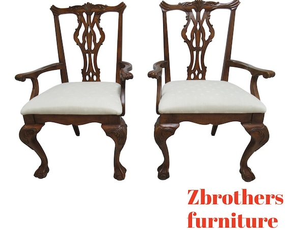 Pair Thomasville Vignettes Chippendale Ball Claw Dining Room Arm Chairs