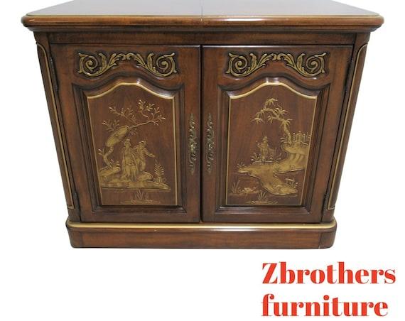 White Furniture Co. Asian Inspired Flip Top Server Bar Liqour Cabinet Sideboard