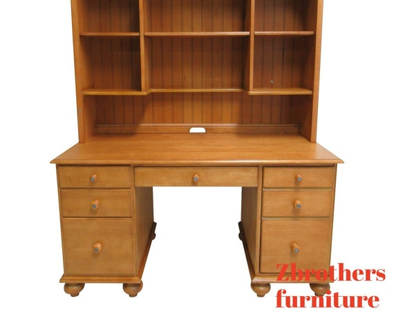 Ethan Allen Computer Desk W/ Hutch Country Cottage