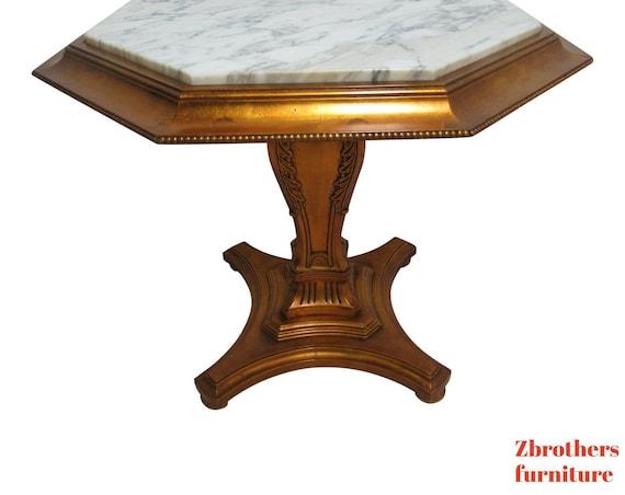 Vintage French Regency Gold Gilt Marble Top Pedestal Lamp End Table Custom B