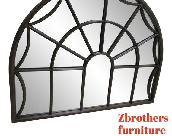 Marlock Fruitwood Arch Top Window pane handing Wall Mirror Lincoln Drape