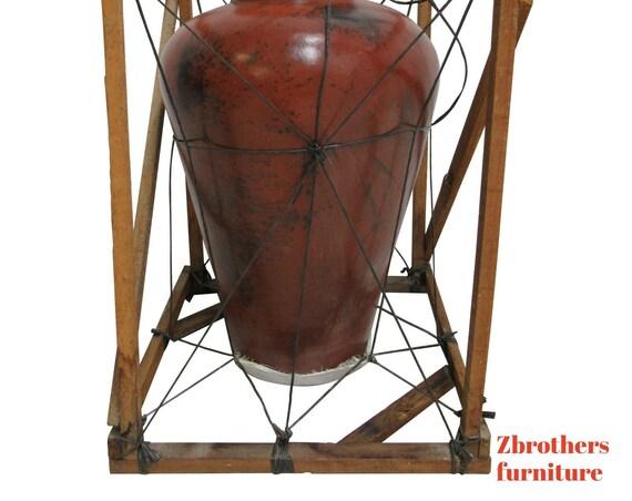 Large Vintage Pottery Vase Urn Original shipping Crate