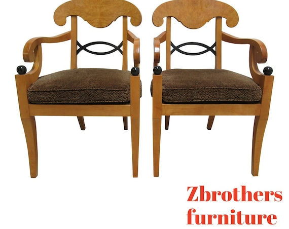 Pair Baker Furniture Biedermeier Style Neo Classical Dining Room Arm Chairs