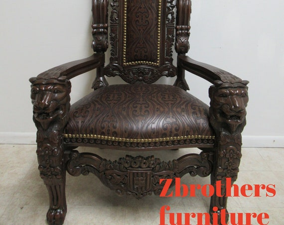 Solid Mahogany Carved Lion Head Throne King Chair Custom Tooled Leather