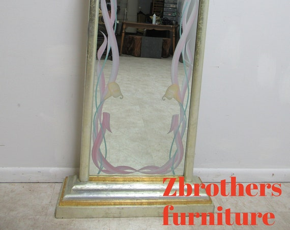 Custom Art Nouveau Style Reverse Painted Gold Silver Leaf Dressing Cheval Mirror