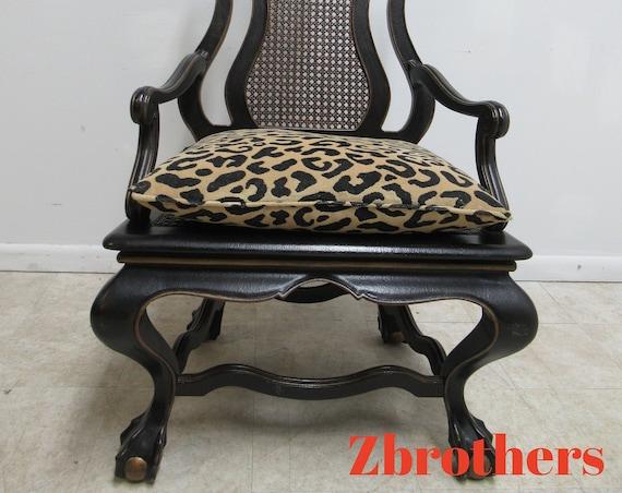 Oversized Maitland Smith Ball Claw Throne Cane Back Arm Chair French Regency B