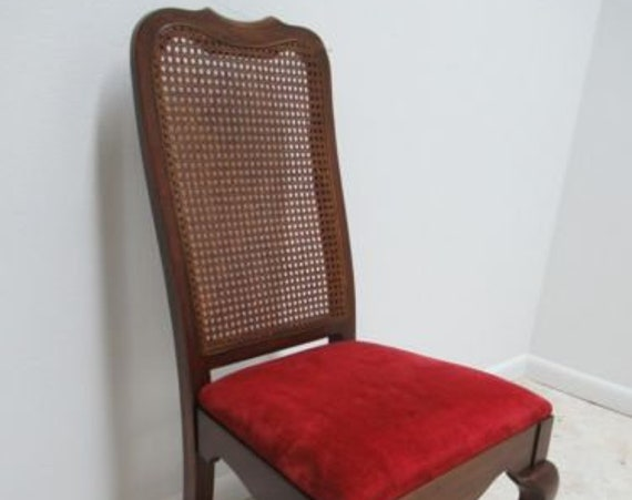 Vintage Thomasville Solid Cherry Queen Ann Caned Dining Room Side Desk Chair.