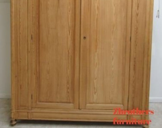 Antique European Knotty Pine Wardrobe Cabinet Armoire