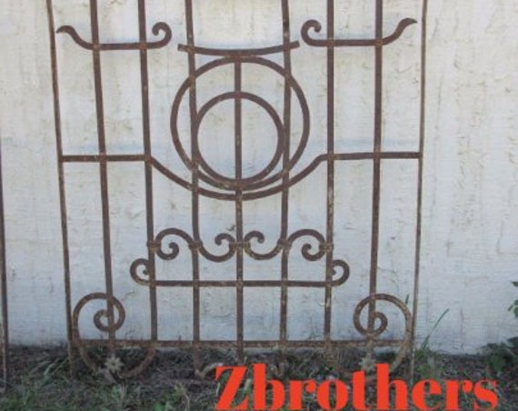Antique Victorian Iron Gate Window Panel Fence Architectural Salvage Door #147