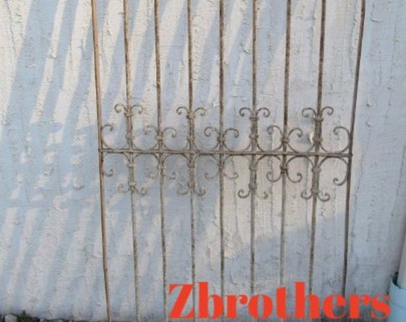 Antique Victorian Iron Gate Window Garden Fence Architectural Salvage Door #042