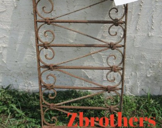 Antique Victorian Iron Gate Window Panel Fence Architectural Salvage Door #38