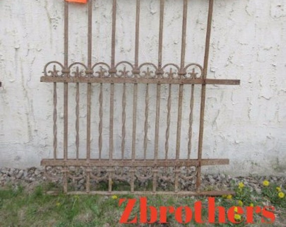 Antique Victorian Iron Gate Window Panel Fence Architectural Salvage Door #313