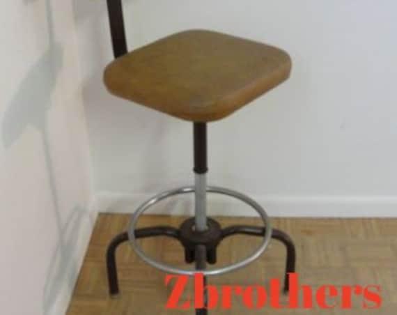 Mid Century Industrial Revolving Stool Chair